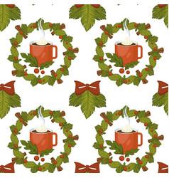merry christmas coffee or tea warm beverage vector image