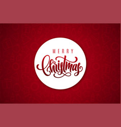 merry christmas lettering on paper sticker vector image