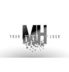 mh m h pixel letter logo with digital shattered vector image