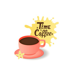 mug with a dark drink a flower of vanilla time vector image