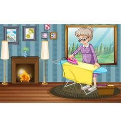 Old lady ironing clothes in the house vector