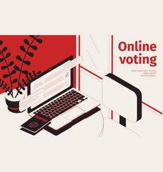 online voting isometric background vector image