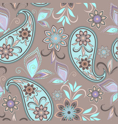 paisley and butterflies - seamless print vector image
