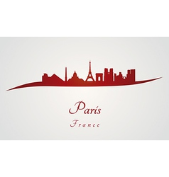 Paris skyline in red vector