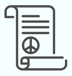 Peace treaty line icon document with peace symbol vector