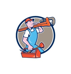 Plumber Carrying Monkey Wrench Toolbox Circle vector