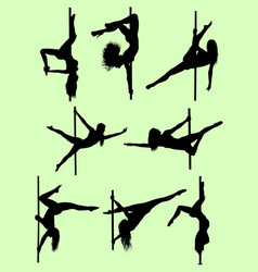 Pole dancer silhouettes vector