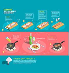 Preparing salmon steaks infographics vector