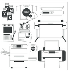 printer and scanner printing service copy and vector image