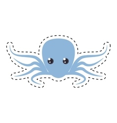 Purple octopus sea life cut line vector