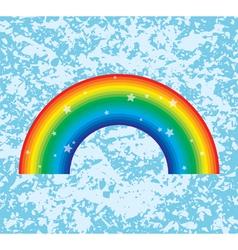 rainbow on grunge background vector image vector image