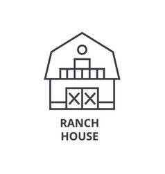Ranch house line icon outline sign linear symbol vector