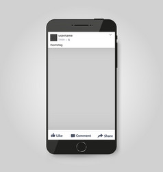 realistic modern phone with social network post vector image