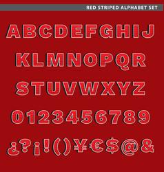 red striped alphabet set vector image