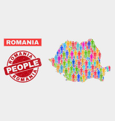 Romania map population people and grunge watermark vector