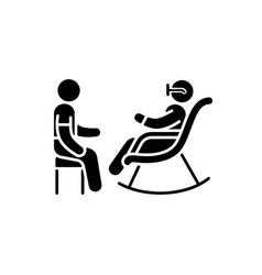 Senior citizen socializer black glyph icon vector