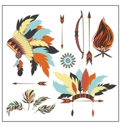 Set ethnic style arrows feathersbow war bonnet vector