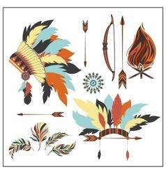Set ethnic style arrows feathersbow war bonnet vector image