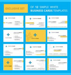set of 12 four way arrow creative busienss card vector image