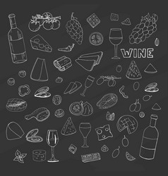 set of hand drawn elements wine galsses and vector image