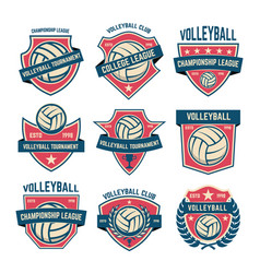 set of volleyball club emblems volleyball vector image