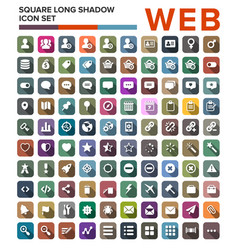 set of web flat icons with long shadows vector image