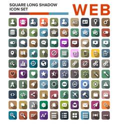 set web flat icons with long shadows vector image