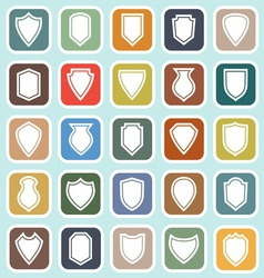 Shield flat icons on blue background vector image