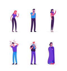 sick men and women set people with flue symptoms vector image