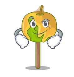 Smirking candy apple character cartoon vector