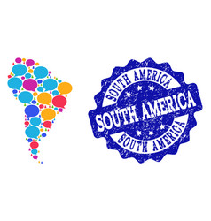 Social network map of south america with chat vector