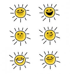 sun characters vector image