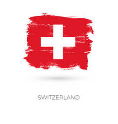 Switzerland colorful brush strokes painted vector
