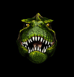 T-rex head on black background full color vector