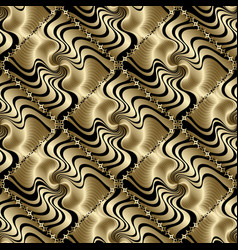 textured 3d gold geometric seamless pattern vector image