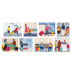 Tourists on vacation cartoon scenes with families vector