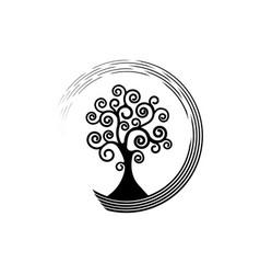 Tree life round icon tree natural ecology logo vector