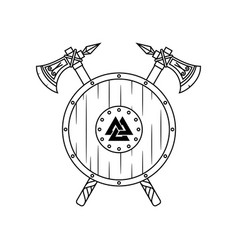 two poleaxes and vikings shield vector image