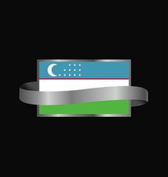 Uzbekistan flag ribbon banner design vector