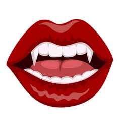 vampire red lips icon evil and fear symbol vector image