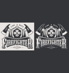 vintage firefighting emblems vector image