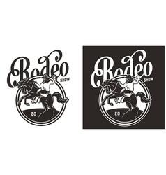 vintage monochrome rodeo print vector image