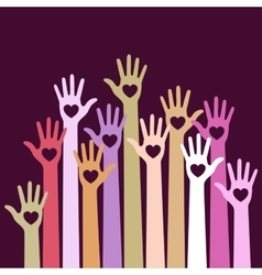 Volunteers colorful caring up hands with hearts vector