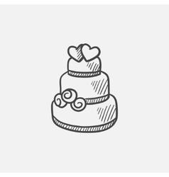 Wedding cake sketch icon vector image