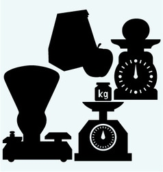 Weight scale apple and paper bag vector