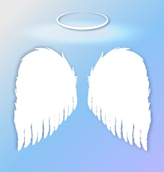 white angel wings on a blue gradient sky vector image
