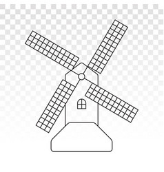 Windmill wind turbine line art icon for apps vector