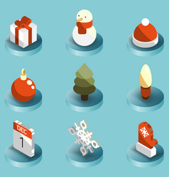 winter color isometric icons vector image