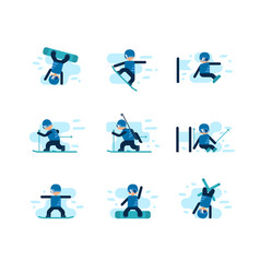 Winter games skiing and snowboarding vector
