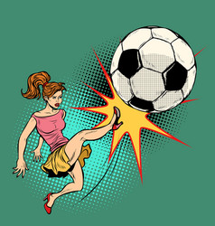 Woman hits a soccer ball football championship vector